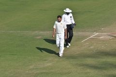 Indian Cricketer Ajit Agarkar counting his steps Royalty Free Stock Photography