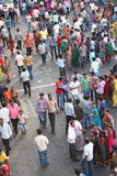 Indian crowd in a religious event. People gathered on the tank bund to ganesh idols being immersed in the tank ,marking the end of the hindu festival.Photo taken Stock Images
