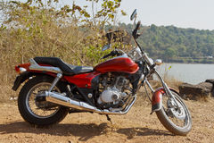 Indian cruiser motorcyle gravel embankment Stock Image