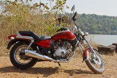 Indian Cruiser Motorcyle Gravel Embankment Stock Image