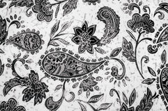 Indian cucumber pattern on fabric. Black and white indian cucumber pattern on fabric Stock Photos