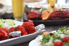 Indian cuisine, aromatic curry dishes. Colorful dishes stock images