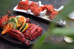 Indian cuisine, aromatic curry dishes. Colorful dishes stock image