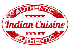 Indian cuisine. Authentic Indian cuisine themed rubber stamp Royalty Free Stock Image