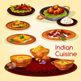 Indian cuisine dinner dishes cartoon menu design. Indian cuisine dinner dishes cartoon menu. Chicken and fish curry with rice, flat bread, shrimp saffron soup Royalty Free Stock Photos