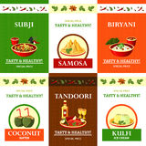 Indian Cuisine Flat Icons Set Poster Stock Images