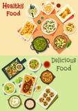 Indian cuisine icon set for dinner menu design Stock Photo