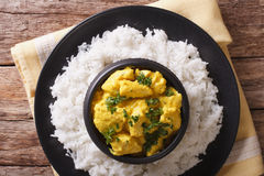 Indian Cuisine: Korma chicken in coconut sauce and basmati rice. Royalty Free Stock Image