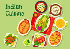Indian cuisine lunch dishes icon for menu dessign Stock Photos