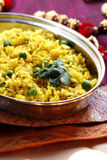 Indian cuisine: rice with green peas Stock Image