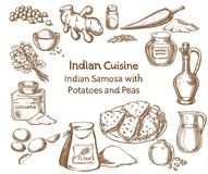 Indian cuisine Samosa with Potatoes and peas Ingredients Stock Photos
