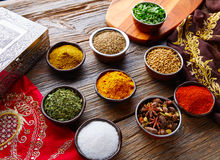 Indian cuisine spices mix as coriander curry Royalty Free Stock Images