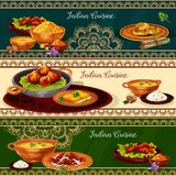 Indian cuisine spicy lunch dishes banner set. Rice curry with vegetable, chicken and fish, meat pilau, prawn seafood soup, bread with herbs, fried feta cheese Stock Photo