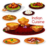 Indian cuisine thali dishes cartoon icon design. Indian cuisine thali dishes cartoon icon. Rice curry with chicken and fish, pork pilau, flat bread, shrimp Stock Photo
