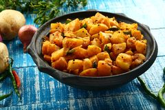 Vegetarian food potato curry Royalty Free Stock Images