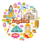 Indian Culture Icons Round Concept. With traditional elements flowers Gods sights spices drums isolated vector illustration Stock Photos