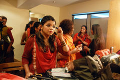 Indian Culture. May 04,2013 Kolkata,West Bengal,India,Asia-Indian drama actress  making up in a green room Royalty Free Stock Image