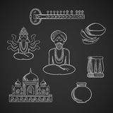 Indian culture and religion icons. With Taj Mahal and sitar, fresh chili pepper and chili powder, tabla drum and vase, God Vishnu, bearded man in turban and Stock Photo