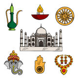 Indian culture and religion icons Royalty Free Stock Images