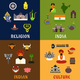 Indian culture, religion and national icons Stock Photography