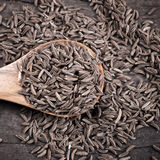 Indian cumin seeds in a spoon. On table Stock Images
