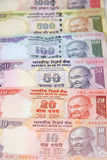 Indian currency. Assorted colorful Indian currency in a row Stock Image