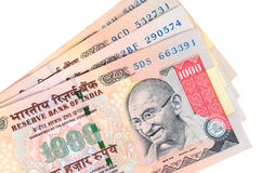 Indian currency. / rupee - Closeup of thousand rupee note / bill with Gandhi emblem Stock Images