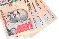 Indian currency. / rupee - Closeup of thousand rupee note / bill with Gandhi emblem Stock Photos