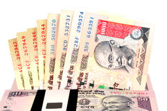 Indian currency. / rupee - Closeup of thousand rupee note and fifty rupee note Stock Images
