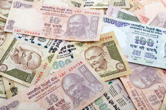 Indian Currency. Indian Rupee bank notes background Royalty Free Stock Image