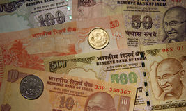 Indian currency. Banknotes (10, 20, 50, 100 and 500 rupees Royalty Free Stock Images