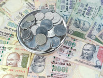 Indian Currency. Indian rupees and coins Royalty Free Stock Photography