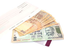 Indian Currency. Rupees, check and credit card Royalty Free Stock Photos