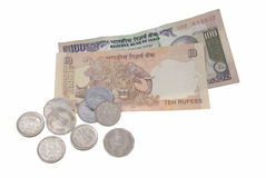 Indian currency. Indian coins and banknotes isolated on white background Royalty Free Stock Image
