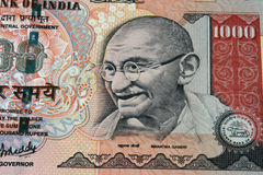 Indian currency. Close of thousand rupee note of indian currency Stock Photos