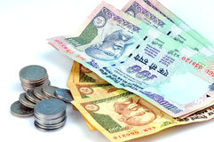 Indian currency. Notes and coins Royalty Free Stock Images