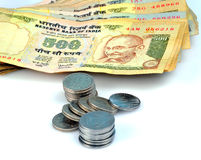 Indian currency. Notes and coins Royalty Free Stock Photo