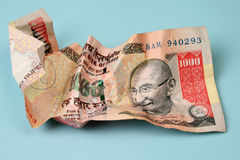 Indian currency. Thousand rupee note of indian currency Stock Images