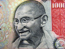 Indian Currency. Close-up of Gandhi on 1000 denomination Stock Photos