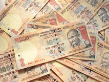 Indian Currency. Background of thousand rupee notes Stock Image