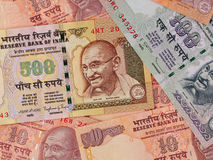 Indian currency banknotes business background, India economy fin Royalty Free Stock Photos