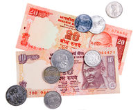Indian currency cash. Banknotes and coins isolated on white background Royalty Free Stock Photos