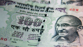 Indian Currency. Close up of 100 Rupees Indian Currency Stock Photo