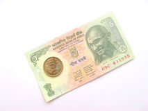 Indian Currency-Five rupees. Five rupee note and coin isolated on white Royalty Free Stock Photography
