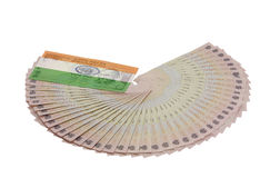 Indian currency with flag Royalty Free Stock Photos