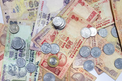 Indian Currency lying on table. Royalty Free Stock Images