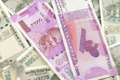 Indian Currency New Notes. Spread across a flat surface Royalty Free Stock Photo
