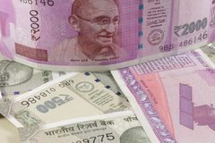 Indian Currency New Notes. Spread across a flat surface Royalty Free Stock Photography