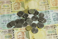 Indian currency notes with coins Royalty Free Stock Image