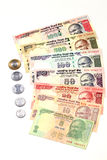 Indian currency notes and coins Stock Photography